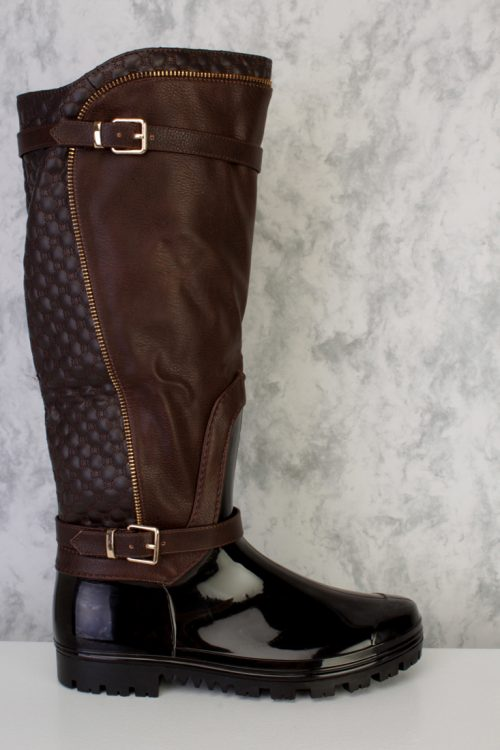 Brown Quilted High Polish Zipper Detailing Knee High Snow Boots