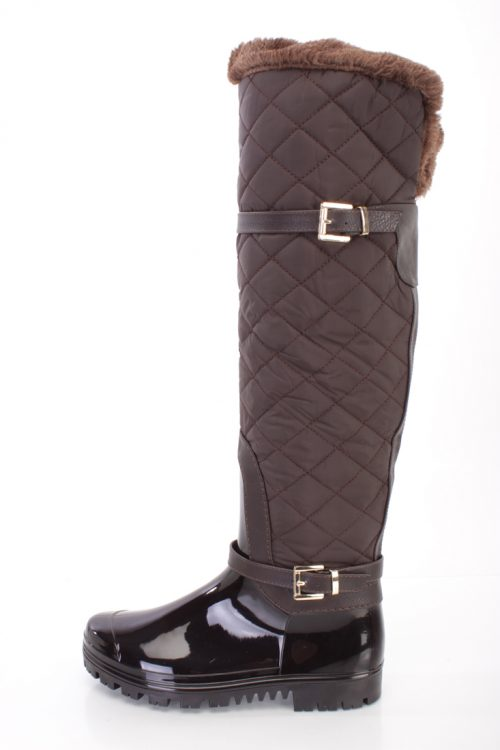 Brown Quilted Knee High Snow Boots PVC Nylon