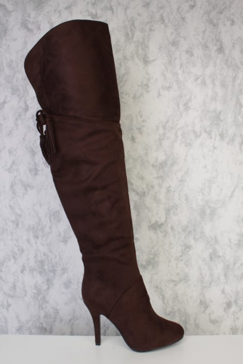 Brown Round Pointy Toe Tassel Fringe Thigh High Single Sole Heel Boots Faux Suede