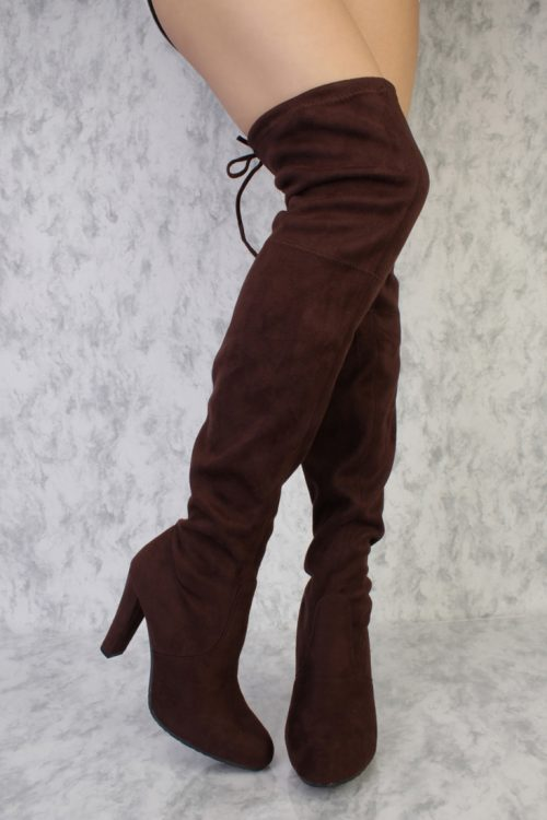 Brown Round Pointy Toe Thigh High Single Sole High Heel Boots Faux Suede