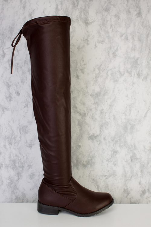 Brown Round Toe Knee High Chunky Heel Boots Faux Leather