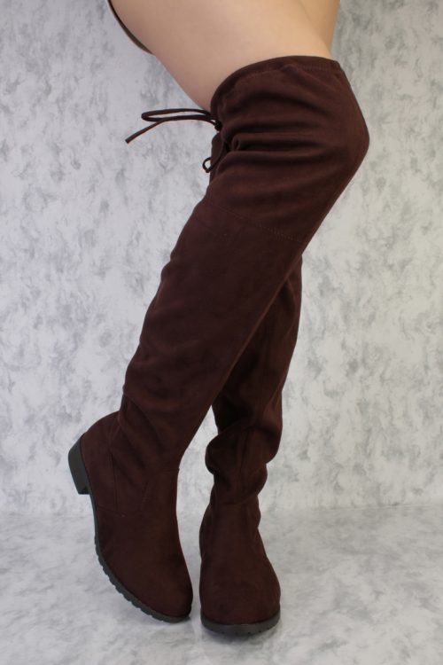 Brown Round Toe Thigh High Flat Chunky Heel Boots Faux Suede