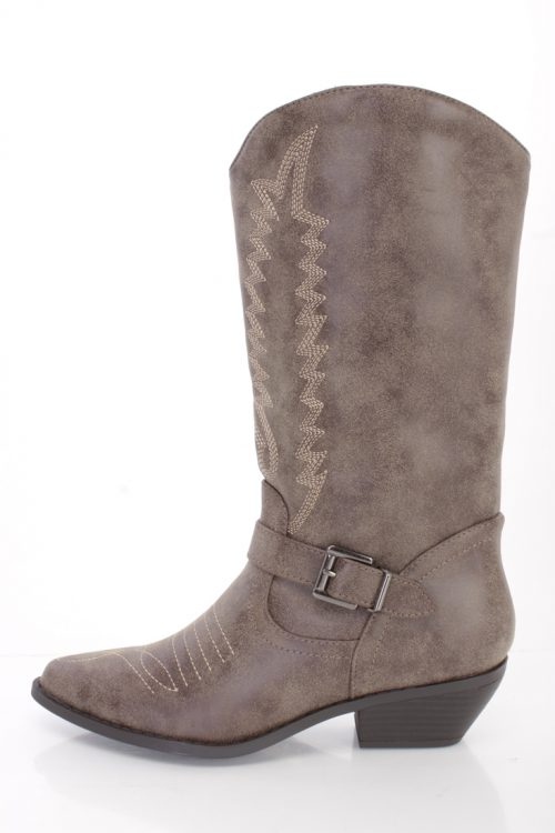 Brown Stitched Western Style Boots Faux Leather