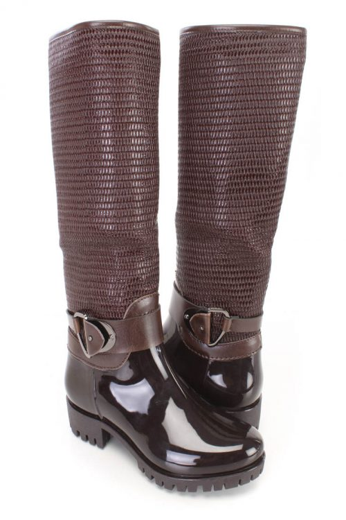 Brown Textured Riding Boots Patent Faux Leather