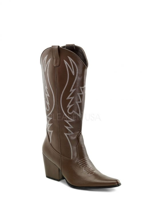 Brown Tonal Stitched Cowboy Boots Faux Leather