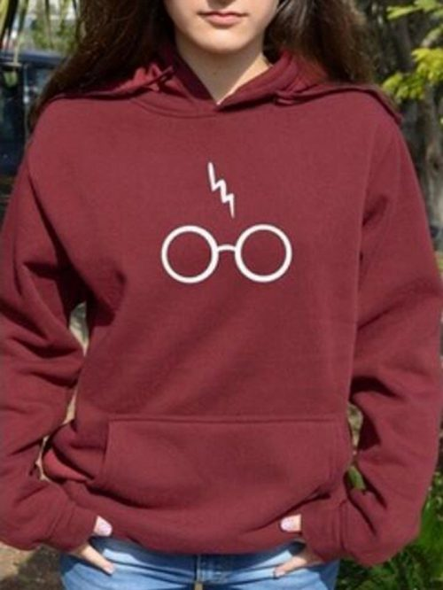 Burgundy Glasses And Letter Print Long Sleeve Chic Women Hoodie