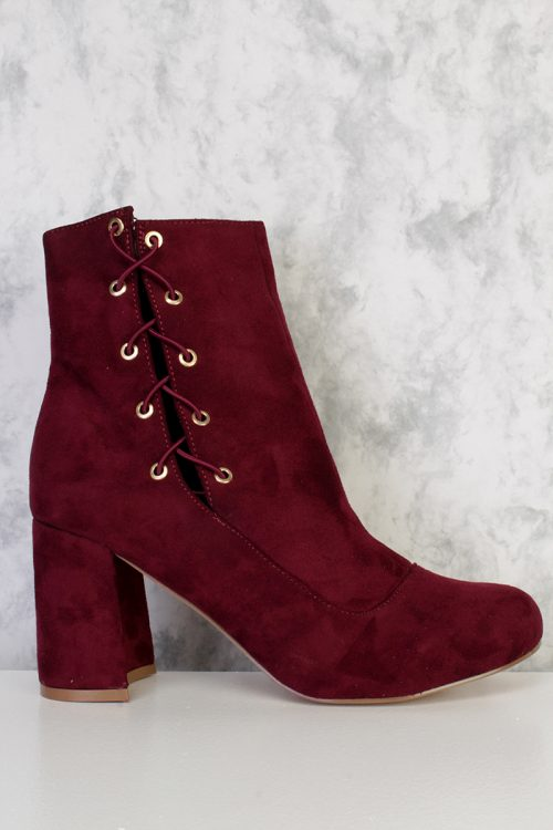 Burgundy Lace Up Pointy Round Toe Single Sole Chunky Heel Booties Faux Suede