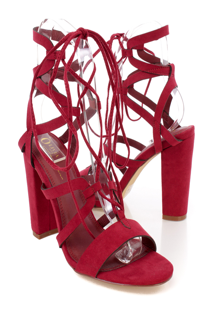 Burgundy Lace Up Tie Strappy Side Detailing Chunky High Heels Faux Suede