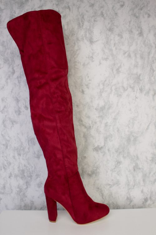 Burgundy Round Pointy Toe Over The Knee Chunky Heel Ami ClubWear Boots Faux Suede
