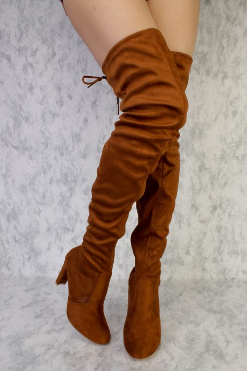 Camel High Polish Detailing Pointy Toe Thigh High Single Sole Chunky Heel Boots Faux Suede