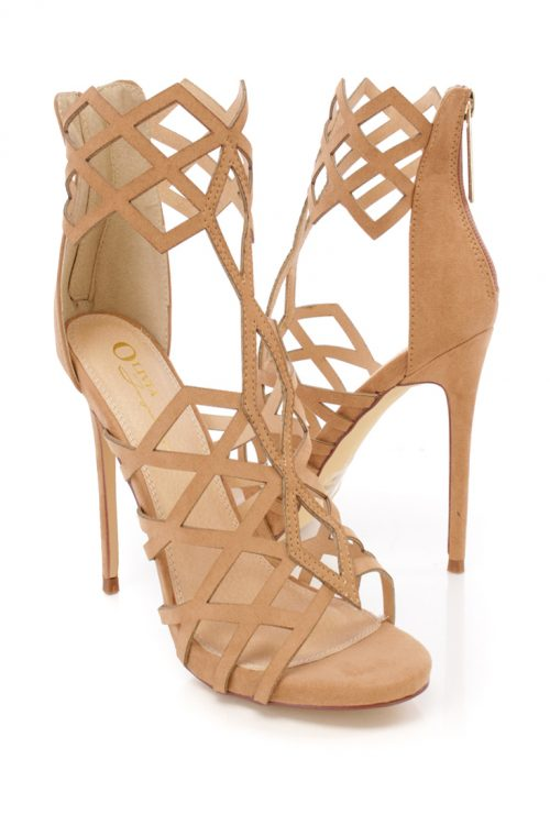 Camel Open Toe Cut Out Side Cage Design Single Sole Suede High Heel