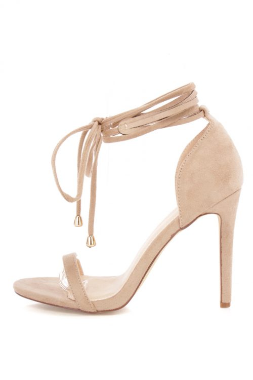 Camel Open Toe Wrap Up Strappy Single Sole Heels Suede