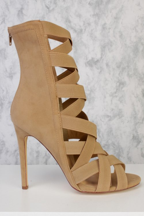 Camel Peep Toe Strappy High Ankle Single Sole High Heels Faux Suede