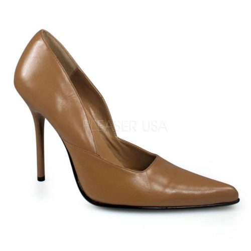 Camel Pointed Closed Toe Pump Heels Leather