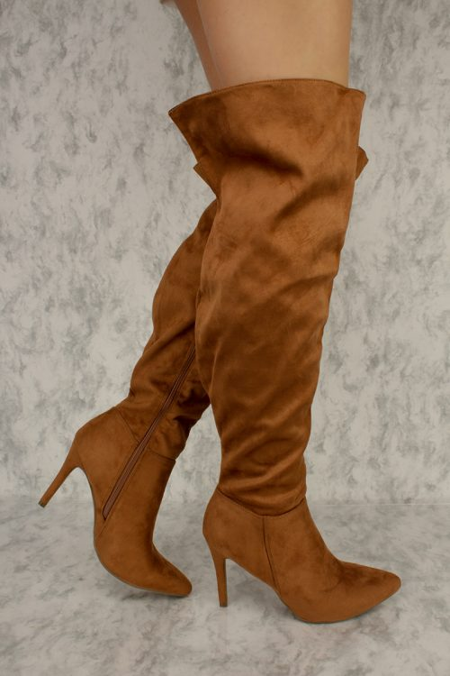 Camel Pointy Toe Thigh High Single Sole High Heel Boots Faux Suede