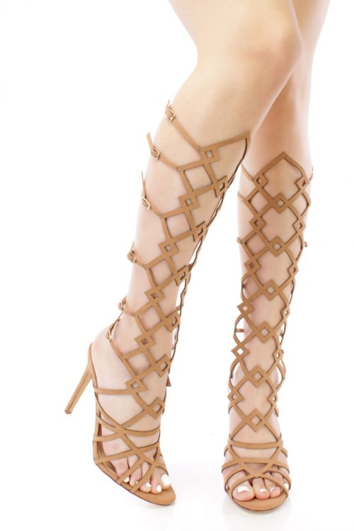 Camel Strappy Cut Out Design Gladiator High Heels