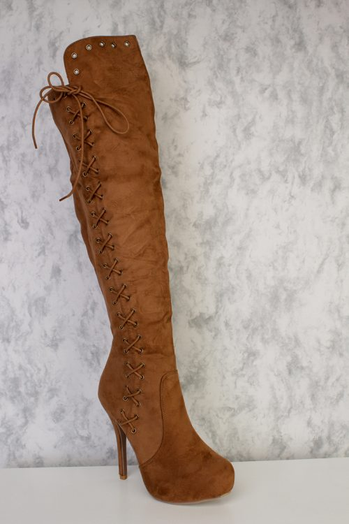 Camel Strappy Trim Accent Round Toe Knee High Platform Pump Boots Faux Suede