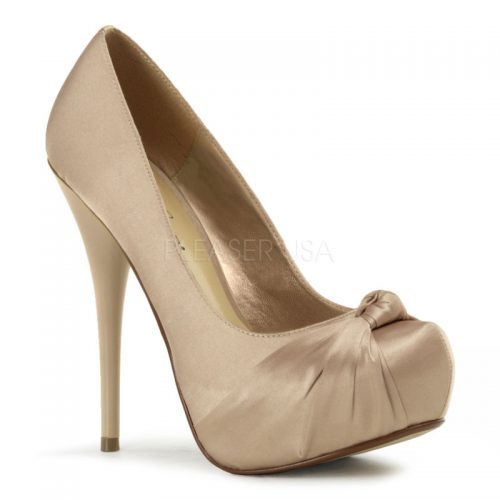Champagne Twisted Vamp Pump Heels Satin