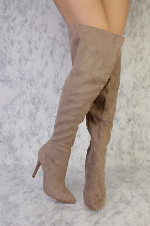 Clay Thigh High Fall Pointy High Heels Boots Faux Suede