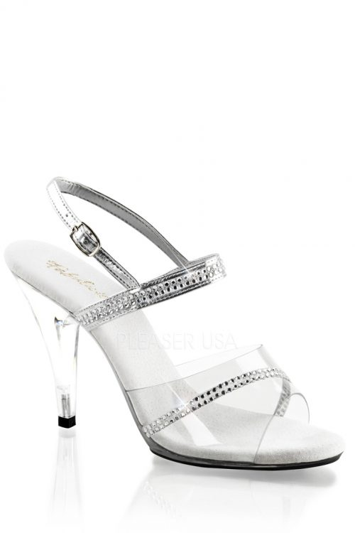 Clear Silver Rhinestone Heels Faux Leather PVC