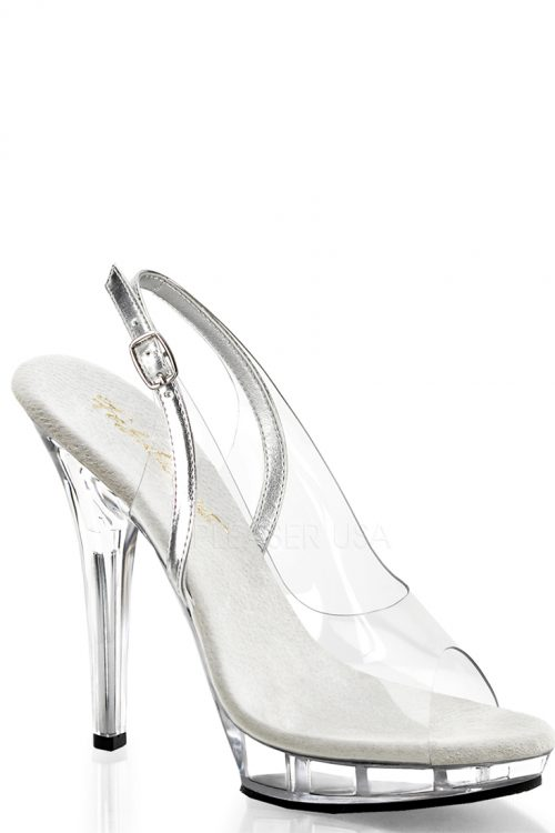 Clear Silver Slingback Heels PVC Faux Leather