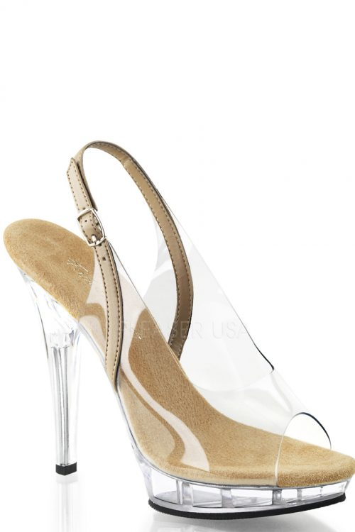 Clear Taupe Slingback Heels PVC Faux Leather