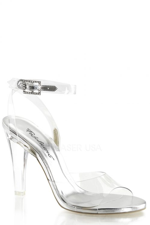 Clear Wrap Around Ankle Strap Sandal Heels Plastic