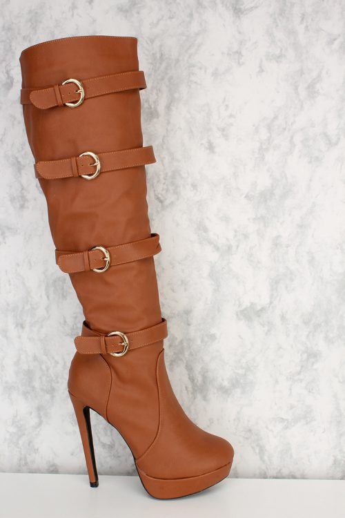 Cognac Buckle Strap Accent Pointy Round Toe Knee High Heel Boots Platform Faux Leather