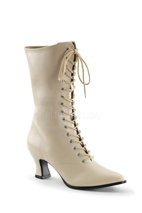 Cream Lace Up Mid Calf Victorian Boots Faux Leather