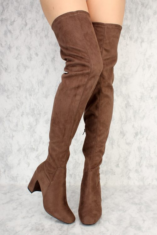Deep Taupe Pointy Round Toe Chunky Heel Boots Suede