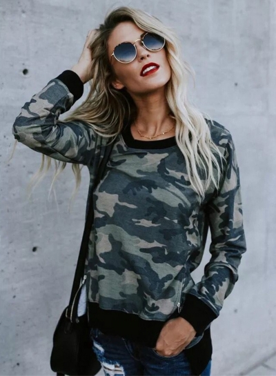 Fashion Long Sleeve Camo Printed Pullover Tee