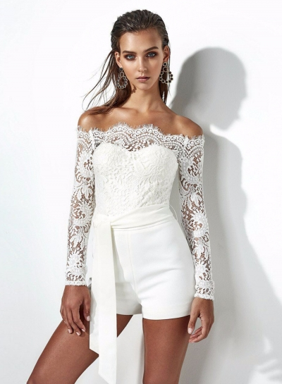 Fashion Slash Neck Long Sleeve Lace Romper