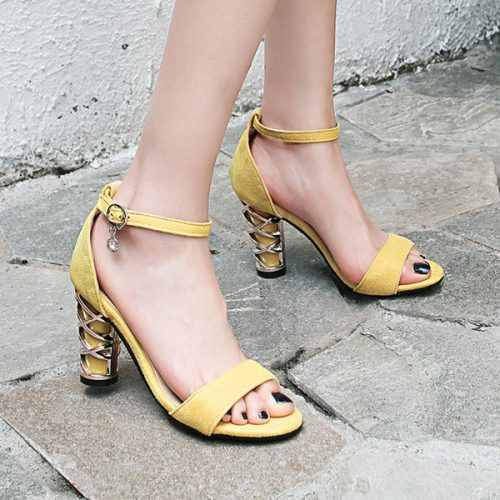 Fashion Women Summer Open Toe Block High Heel Ankle Strap Sandals Ladies Casual Dress Shoes