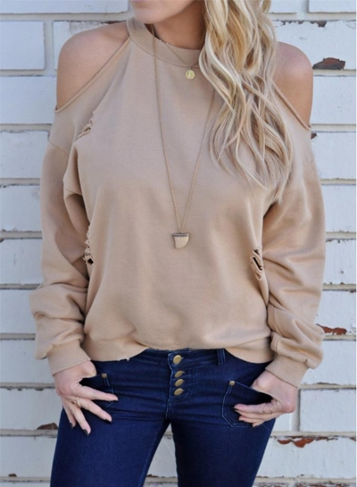 Fashion off Shoulder Long Sleeve Backless Tee