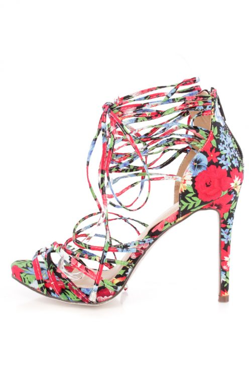 Floral Ankle Lace Up Peep Toe High Heel