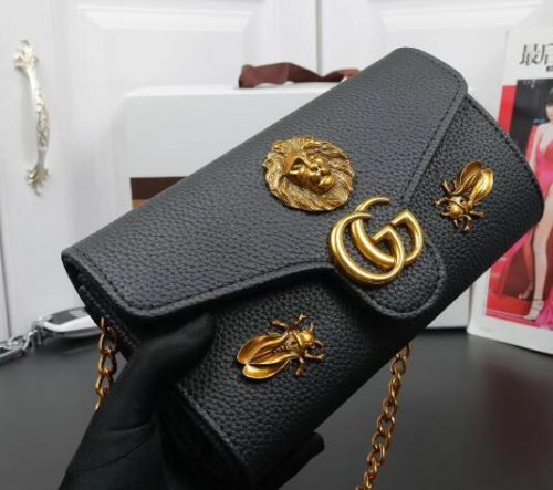 Free shiopping 2018 New gift Fashion black chain makeup bag famous luxury party bag Marmont shoulder bag Womendesigner bags 5032