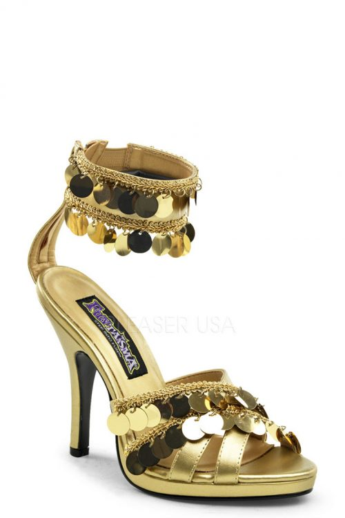 Gold Bohemian Chime Strappy Heels Faux Leather