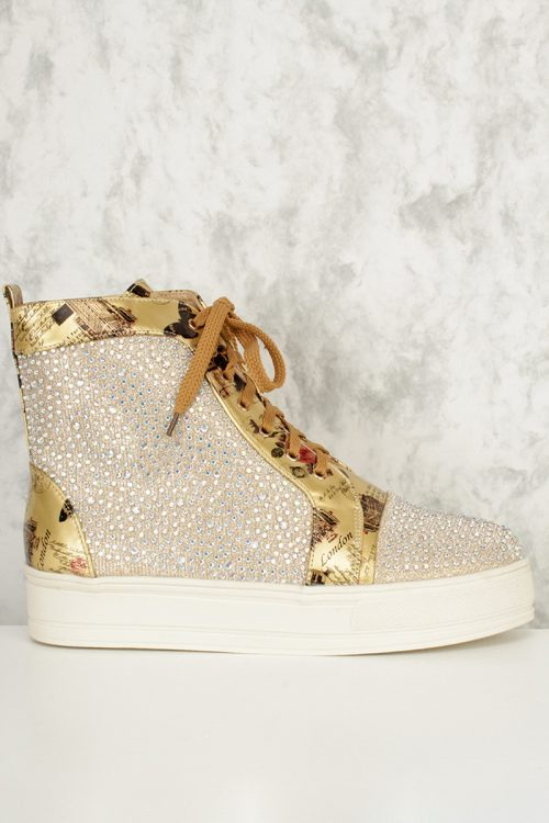 Gold Metallic Rhinestone Detailing Round Toe Sneaker Wedges Faux Leather