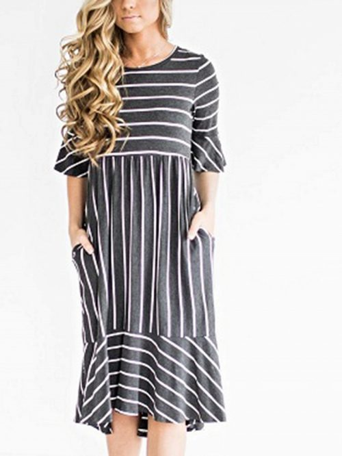 Gray Cotton Stripe Half sleeve Chic Women Midi Dress