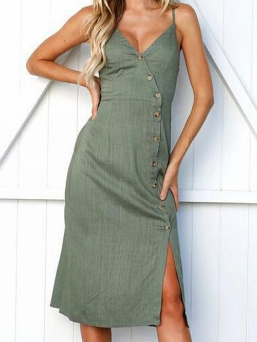 Green V-neck Button Placket Front Chic Women Cami Midi Dress