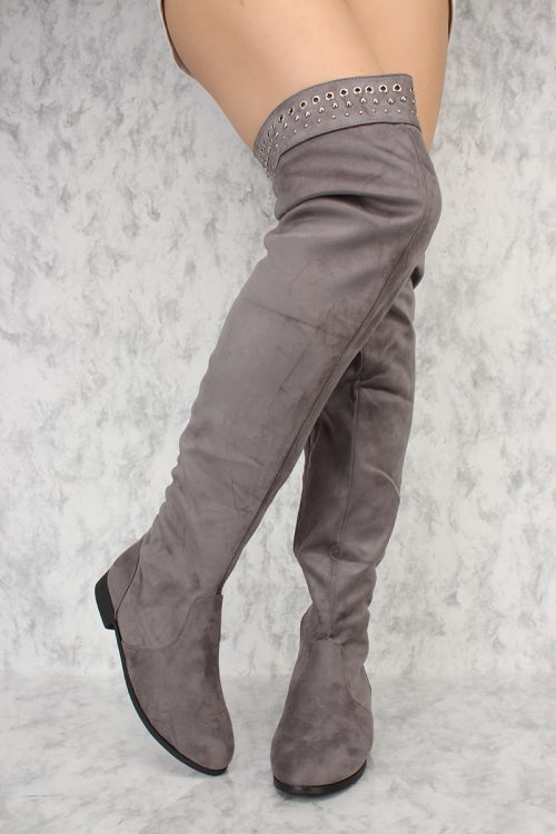 Grey Beaded Detailing Pointy Round Toe Chunky Heel Thigh High Boots Suede