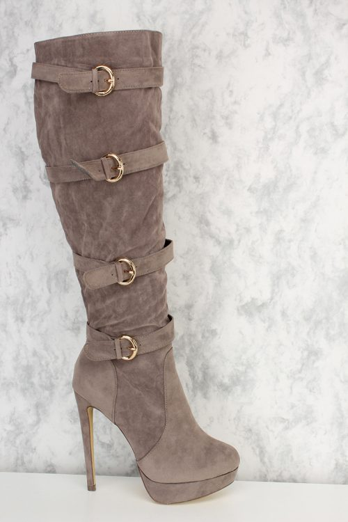 Grey Buckle Strap Accent Pointy Round Toe Knee High Heel Boots Platform Faux Suede