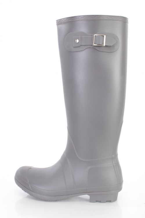 Grey Round Closed Toe Slip On Rain Boots Rubber