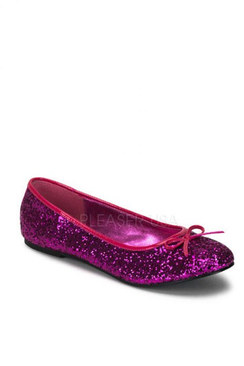 Hot Pink Bow Tie Closed Toe Flats Glitter