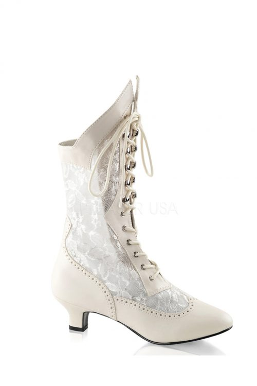 Ivory Lace Inset Lace Up Boots Faux Leather