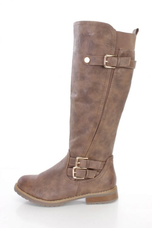 Khaki Strappy Buckle Riding Boots Faux Leather