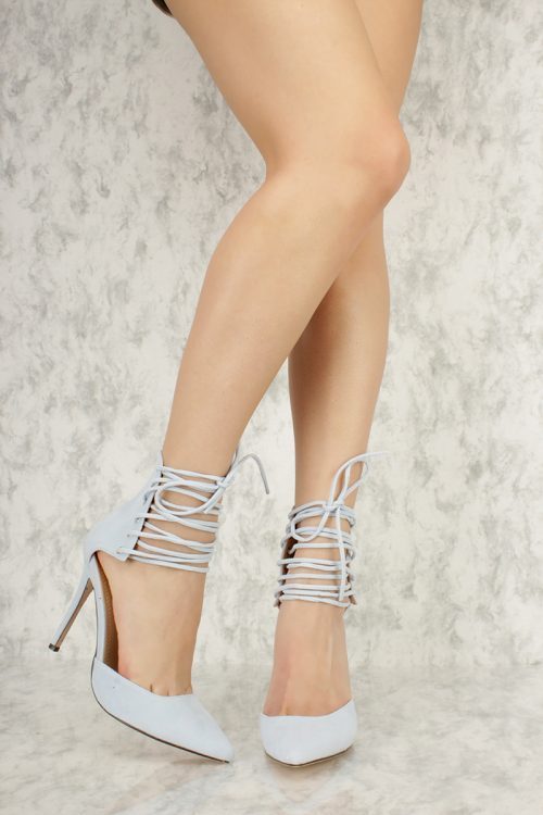 Light Blue Ankle Strappy Brace Detailing Pointy Toe Single Sole High Heel Faux Suede