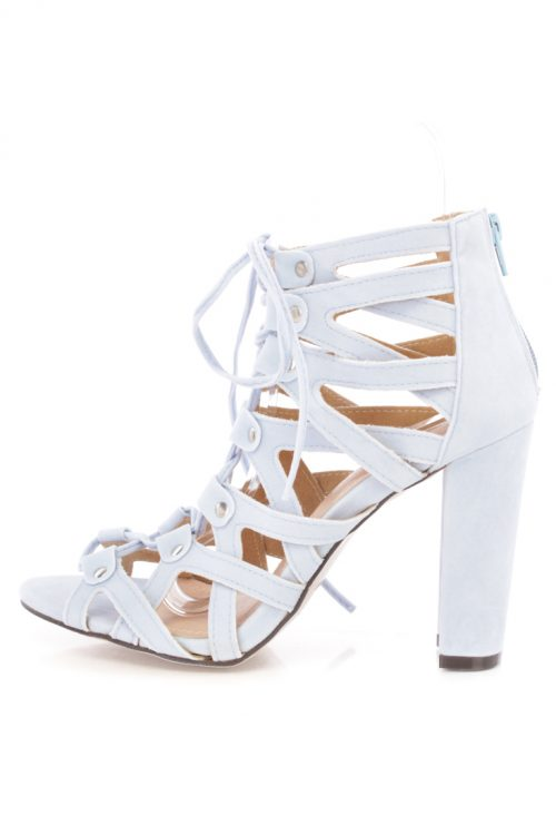 Light Blue Open Toe High Polish Metal Accent Strappy Faux Suede Chunky High Heels