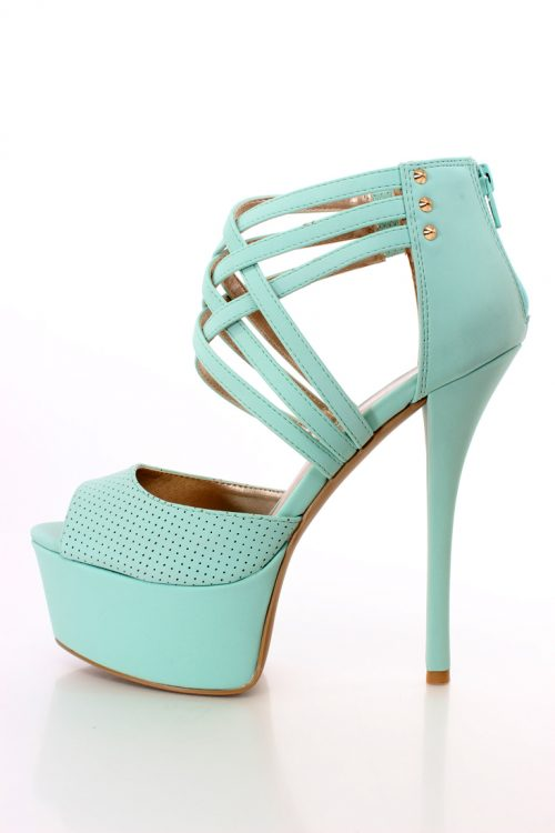 Light Mint Perforated Cross Strappy Design Heels Faux Nubuck
