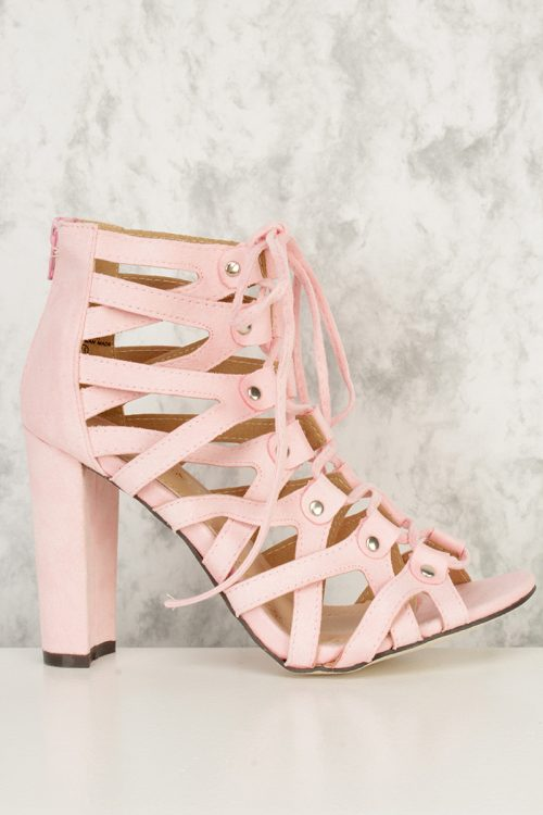 Light Pink Open Toe High Polish Metal Accent Strappy Faux Suede Chunky High Heels
